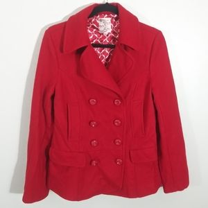 Tulle cherry red wool blend double breasted jacket